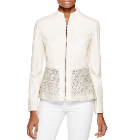 Elie Tahari Leather Laser Cut Grace Jacket by Elie Tahari